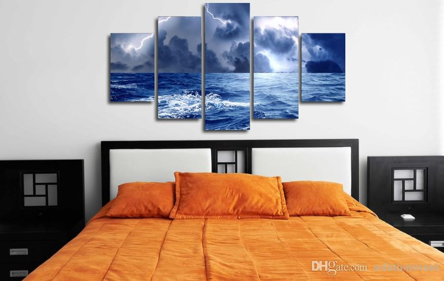 HD Printed Storm Lightning Painting Canvas Print room decor print poster picture canvas art pop
