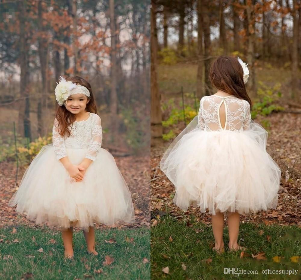 696f06b6b Rustic flower girl dress kids prom dresses knee-length long sleeves lace  sheer back ball gown first communion gown for wedding