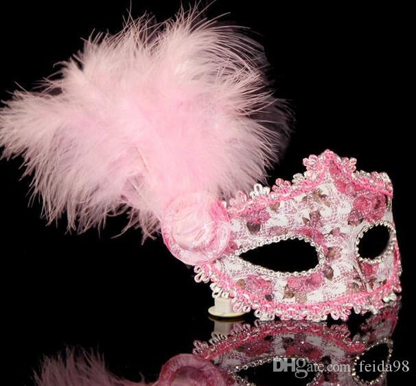2016 New Venetian Princess painted half-mask masks perform side-masks with feather masks