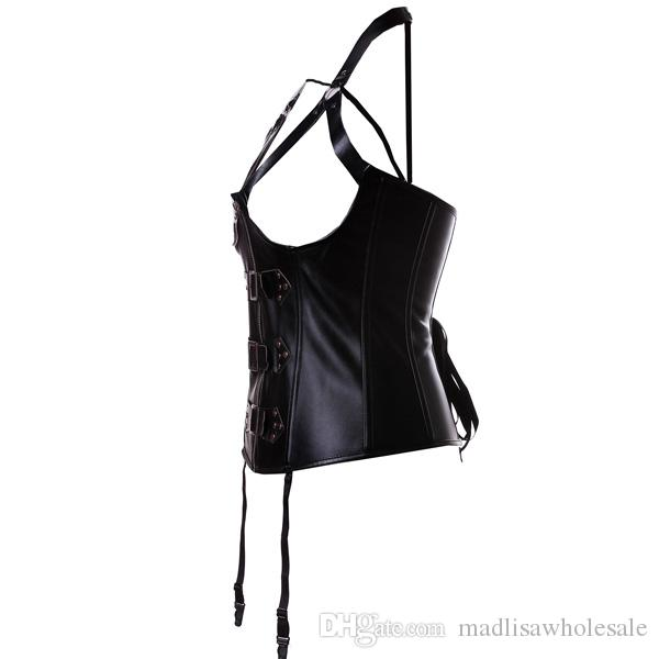 Faux Leather Corsets Harness Steampunk Corset Sexy Gothic Tops Lingerie Vest Waist Trainer Underbust Shaperwear Sheath Straitjacket 0820