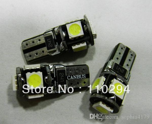 Alta calidad !!! 100 unids T10 Canbus W5W 194 5050 SMD 5 LED Sin error Bombillas Luces de liquidación 12v / 24v