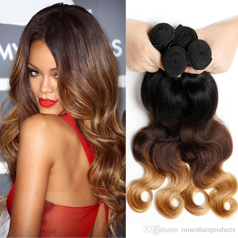 1B/4/27 Ombre Brazilian Hair Body Wave 1Pc Lot Ombre Hair brazilian curly weave 4pcs Extensions soft and full Human Hair Wefts