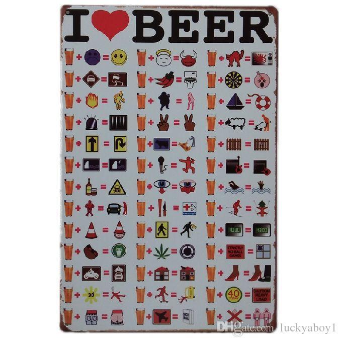 I love Beer Retro rustic tin metal sign Wall Decor Vintage Tin Poster Cafe Shop Bar home decor
