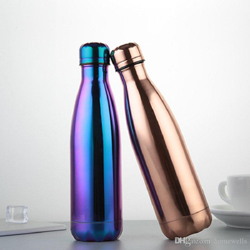 Cola Shaped Bottle Purple Stainless steel Gold Rose Gold Insulated Double Wall Vacuum High-luminance Water Bottel Creative Thermos Bottle