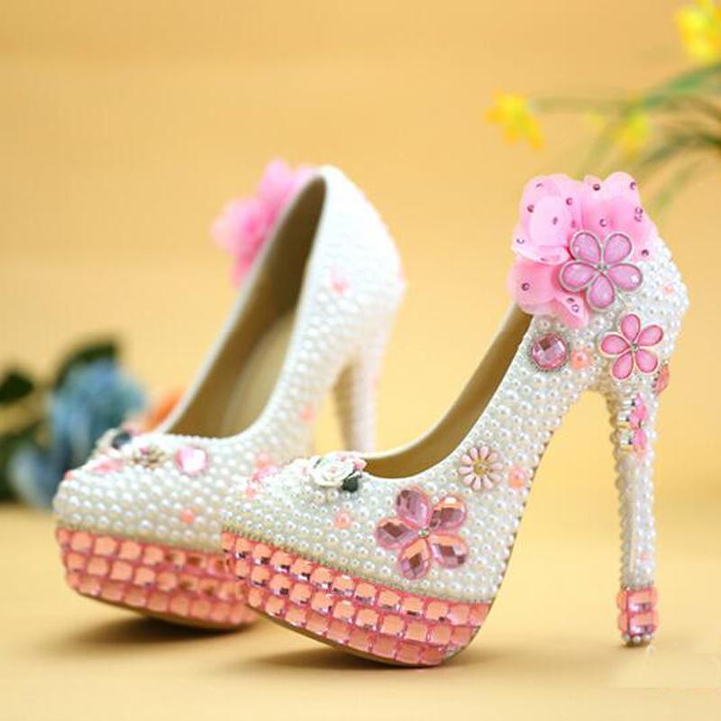 2019 hechos a mano de cristal rosa tacones altos Bling Bling Rhinestone y blanco perla zapatos de boda nupcial del alto talón fiesta zapatos de baile