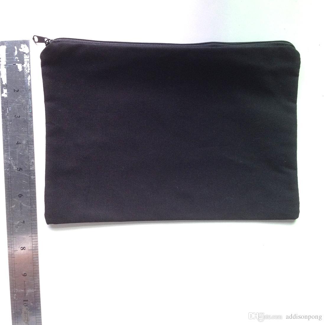 plain black color pure cotton canvas coin purse with black zipper unisex casual wallet blank cotton pouches black cotton zip bag