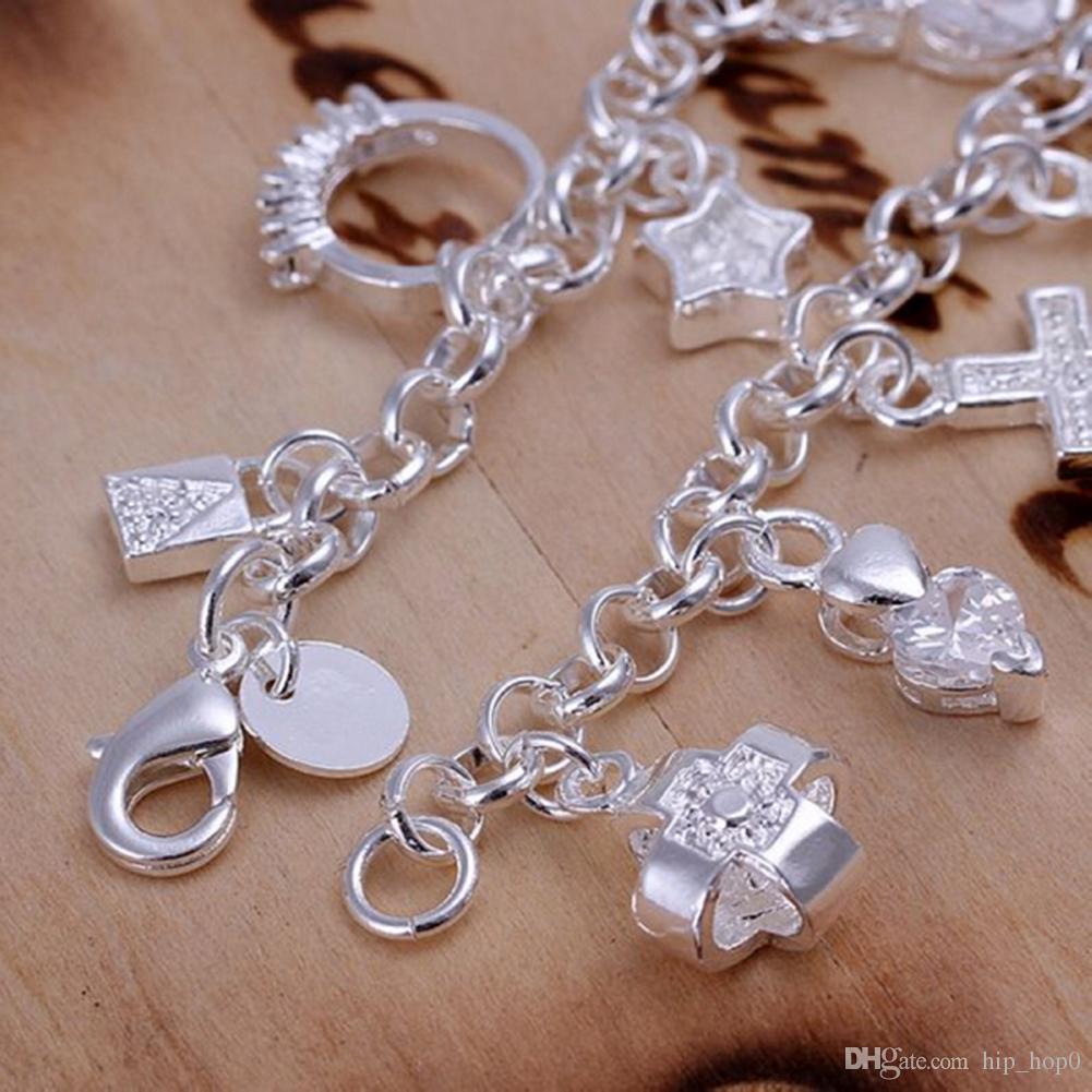 13 Charms 925 Sterling Silver Bracelet Cross Ball Lock Key Moon Ring Heart Star Flower Cube Zircon Charms Bracelet Beautiful Jewelry Cheap