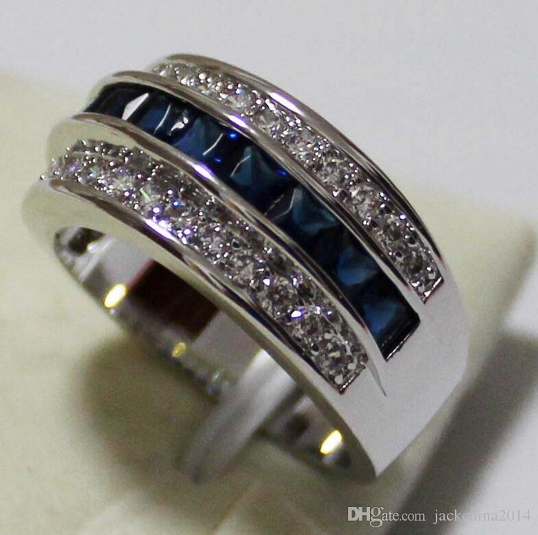 Victoria Wieck Princess Men Fashion Jewelry 10KT White Gold Filled Sapphire&Ruby&Topaz CZ Diamond Gemstones Party Popular Wedding Band Ring