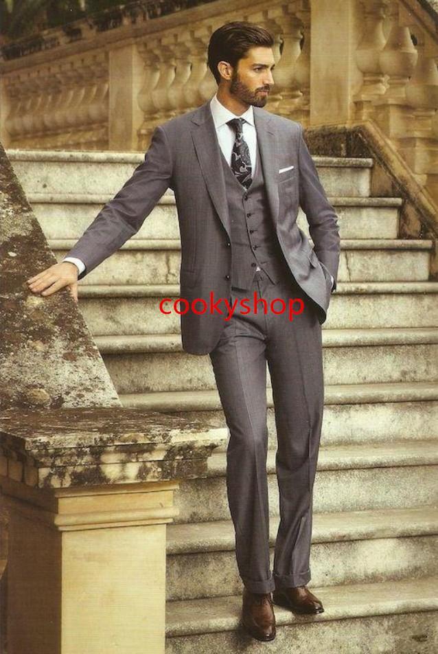 Trajes de hombre de dos botones Trajes de boda del smoking del hombre para los hombres Trajes de boda del esmoquin / de los padrinos de boda para hombre chaqueta + pantalón + chaleco