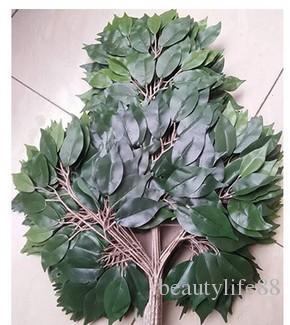 البلاستيك نبات أخضر بانيان يترك اللبخ الاصطناعي فروع العشب المنزل الديكور الأرجواني فرع 12 قطع