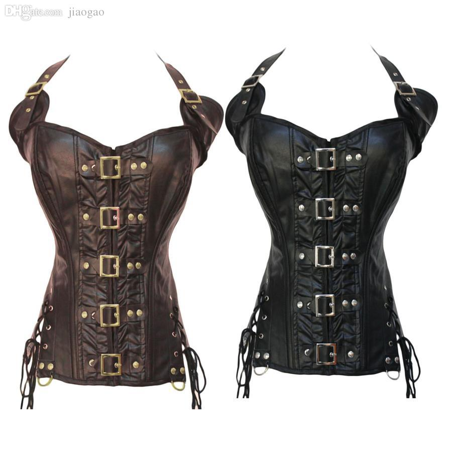 63ce9c81427 2019 Wholesale Black Steampunk Corset With Strap For Women Sexy Coffee  Gothic Corset And Bustier Leather Overbust Outwear Corset From Jiaogao