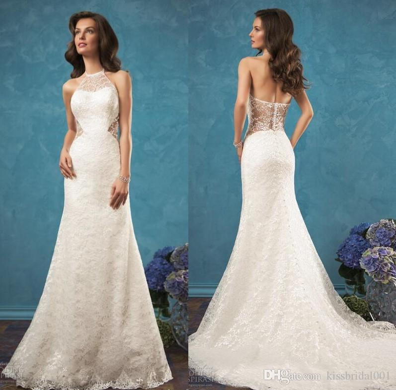 270dd2a5b88 Full Lace Summer Beach 2018 Wedding Dresses Amelia Sposa 2019 Back Open Bridal  Gowns With Sheath Body Shape Halter Neck Court Train Wedding Dresses Full  ...