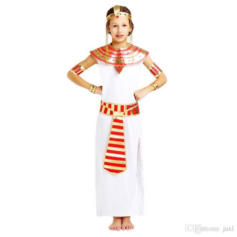 Kids Girls Princess Eypt Theme Costume Elegant King Queen Pharaoh
