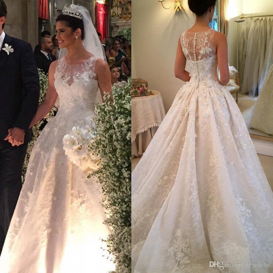 Beaded 3 D Floral Wedding Dresses Illusion Neckline Lace Bridal Gown ...