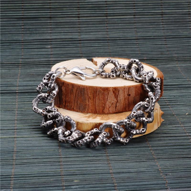 Personnalité Vintage Titane En Acier Crâne Twisted Chaînes Bracelet Bracelets Brace dentelle Male Punk Bijoux Haute Qualité 22 cm * 1.5 cm