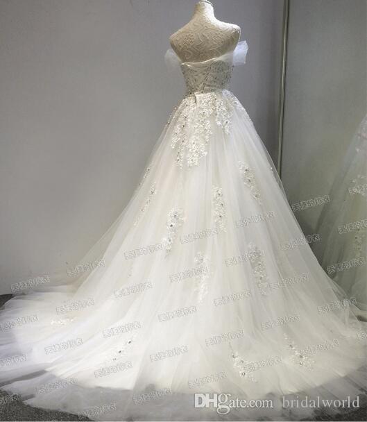 100% реальные фото vestido де noiva princesa свадебное платье кружева бисером свадебные платья с поездом 2017 фондовой дешевые свадебные платья