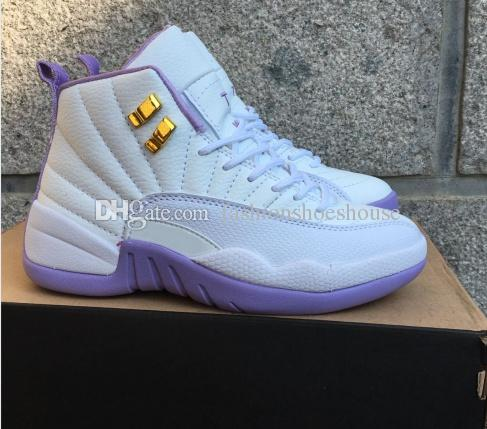 f5212768e9fb62 High Quality Retro 12 WoMen Basketball Shoes White And Purple 12s Cheap  Basketball Shoes Kevin Martin S Retro Sneakers Size 5.5 8.5 Men Shoes  Online Online ...