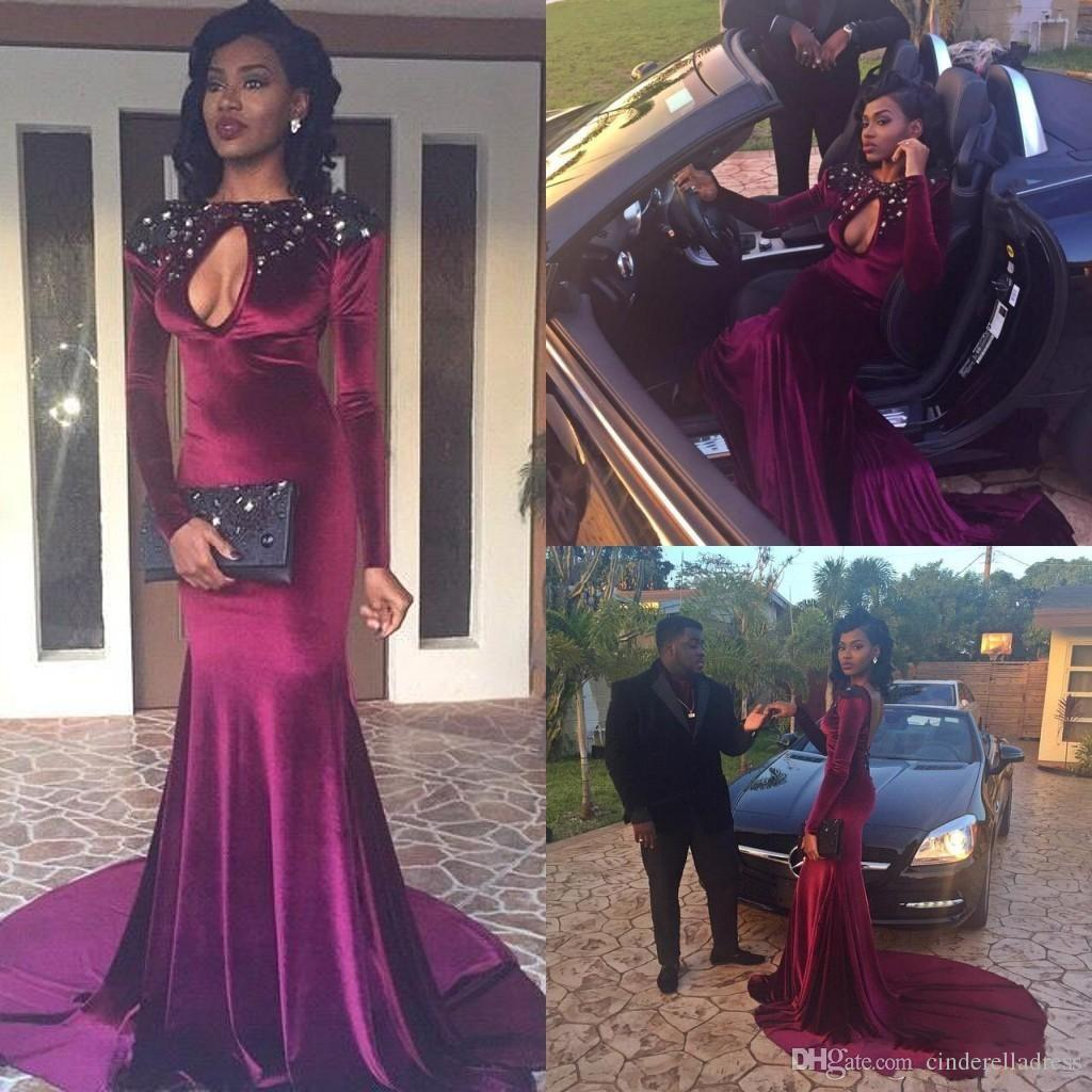 2k16 Black Girl Prom Dresses Burgundy Keyhole Jewel Neck Beaded ...