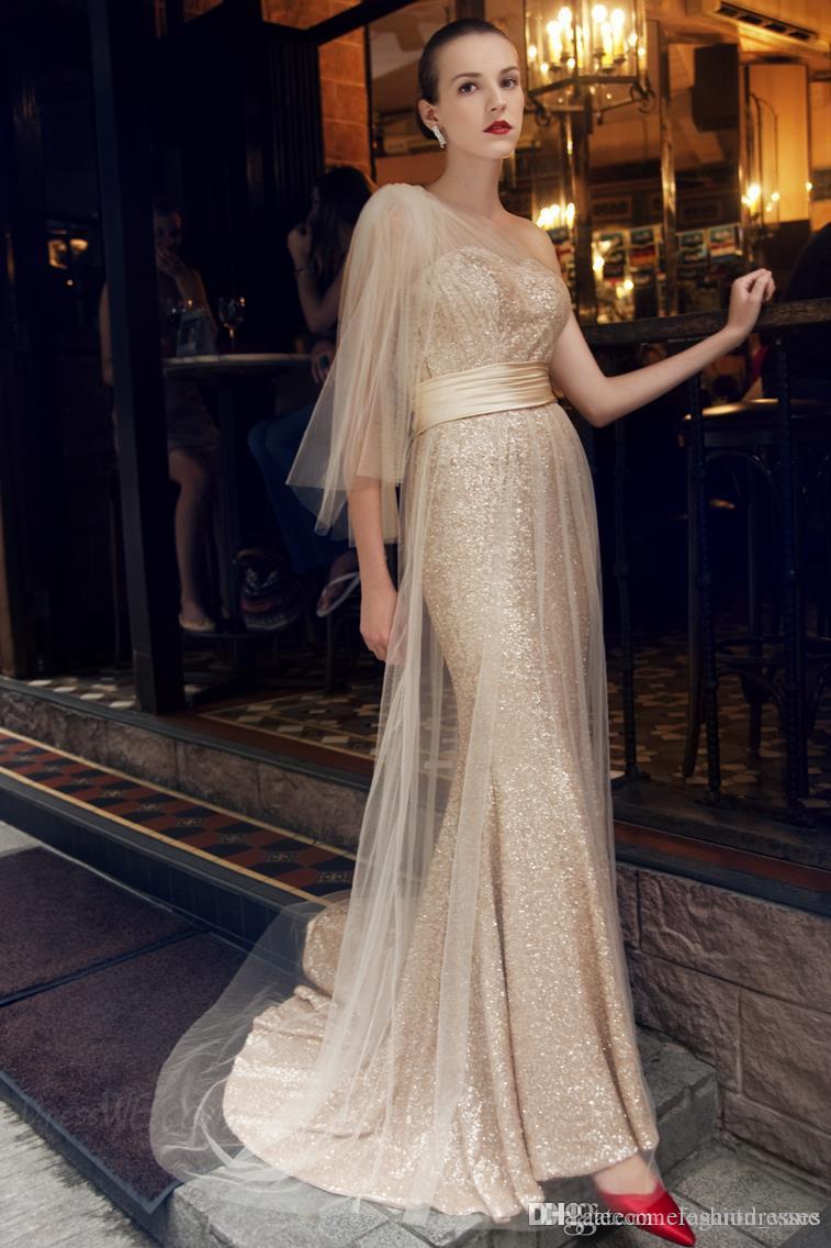 2021 más reciente sirena africana un hombro oro lentejuelas elegante largo personalizado celebridad vestidos de noche vestidos de fiesta barato fiesta