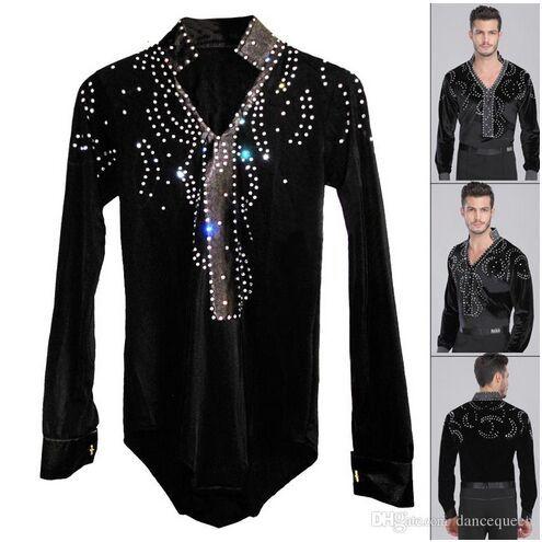 d76983d7a 2019 Man Latin Ballroom Dancing Dresses Top High Grade Velvet Dance Wear  Drilling Boy Clothes For Dancing Men Dance Exercise Shirt From  Dancingqueen88, ...