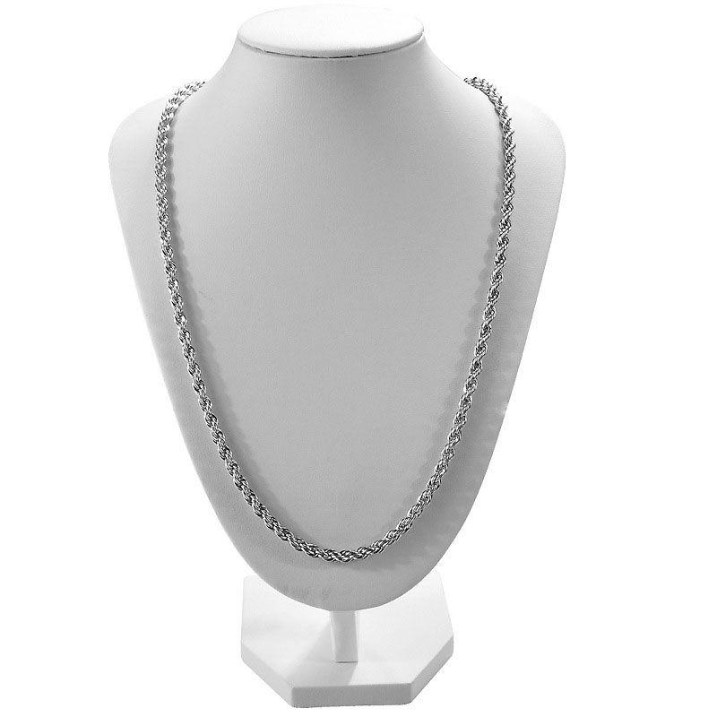 3 MM 925 Collar de Plata Esterlina Cadena Cuerda Torcedura Collar Collar 16-30 pulgadas Mujer Cadena de Eslabones Envío Gratis