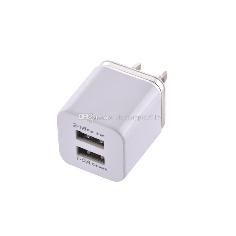Metal Dual USB Puerto de carga de pared Cargador EE. UU. UE Plug 2.1A Adaptador de corriente alterna Cargador de pared Plug para iphone 6 7 8 X para Samsung android phone