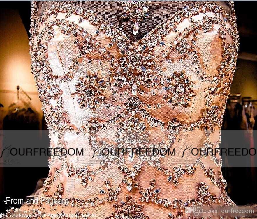 Румяна Персиковое бальное платье без спинки Платья Quinceanera 2019 кристаллов горного хрусталя Sheer Jewel Sweet 16 оборками юбка принцесса выпускного вечера платья партии