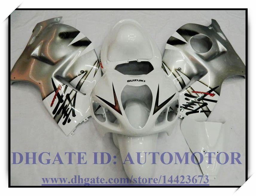 RICHIEDI KIT CARENA INIEZIONE ABS IN OMAGGIO 100% SUZUKI GSXR 1300 97-07 GSXR1300 1997-2007 GSX-R 1300 1998 1999 # HG724 ARGENTO BIANCO