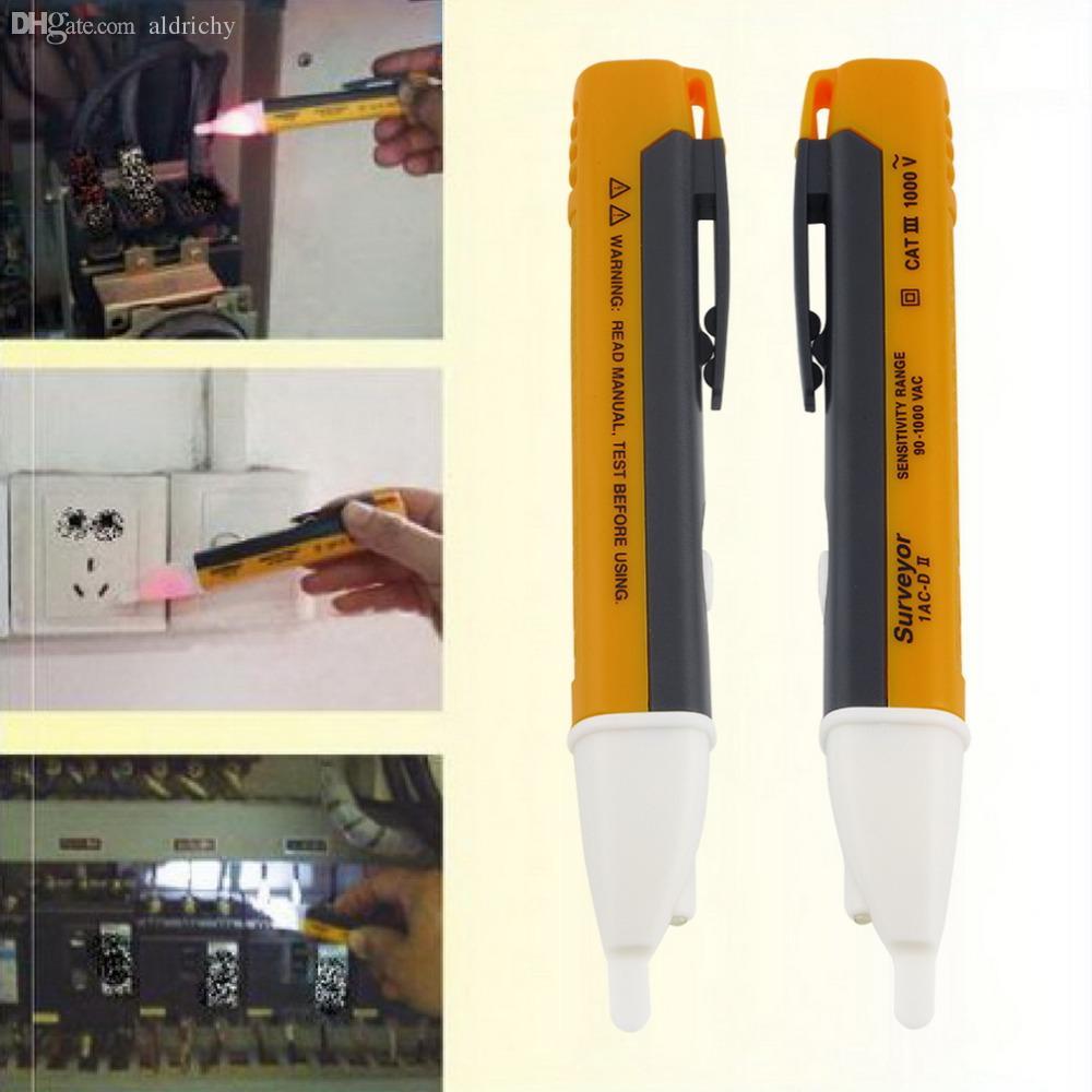 Wholesale New Electric Indicator 90 1000v Socket Wall Ac90 Electrostatic Charge Detector Electroscope Power Outlet Voltage Sensor Tester Pen Led Light Box