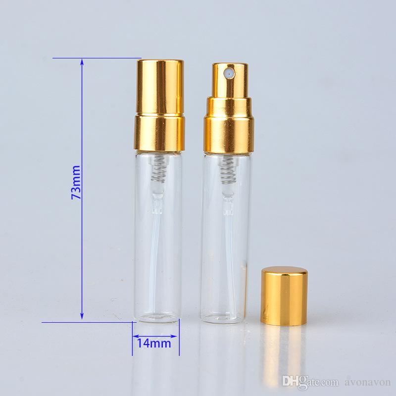 5 ml 10 ml Şeffaf Cam Sprey Şişesi Boş Temizle Doldurulabilir Parfüm Atomizer Altın Gümüş Kap ile Taşınabilir Örnek Cam Vials B706