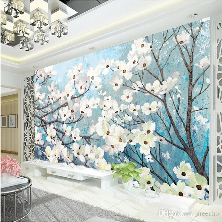 Elegant Wallpaper For Wall: Elegant 3d Wallpaper Magnolia Wall Murals Custom Oil