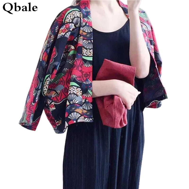 2017 Wholesale Qbale Kimono Cardigan Women Vintage Japanese Style ...