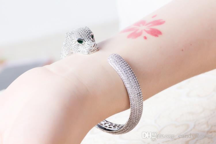 gros concepteur de haute qualité manchette Bangle zircons pleine LEOPARD pavé or jaune 18 carats / or blanc bracelets panthère plaqué pour les femmes