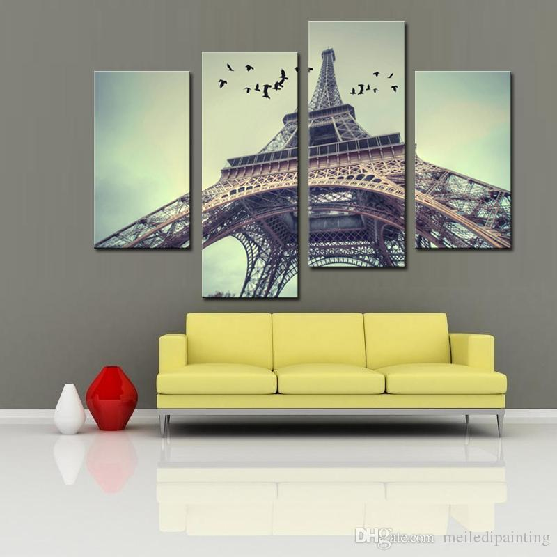 2018 4 Panels Modern France Paris Eiffel Tower Painting Canvas Art ...
