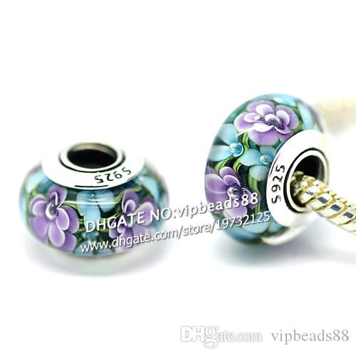 S925 Sterling Silver jewelry Blue and purple flowers Murano Glass Beads Fit European DIY pandora Charm Bracelets & Necklace 244