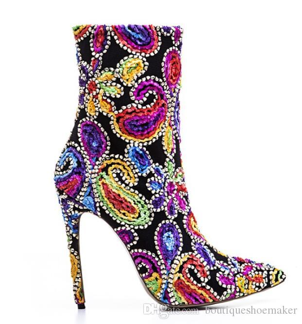 2017 Sexy Velvet Ankle Boots Women Pointed Toe Rhinestone Bead