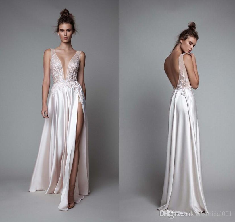 Discount berta bridal 2016 summer beach wedding dresses sexy discount berta bridal 2016 summer beach wedding dresses sexy backless long lace 2017 bridal gowns with deep v neck split side silk satin long sleeve wedding junglespirit