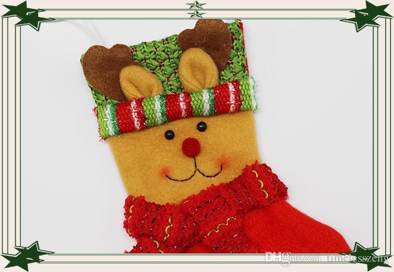 2016 nouveau bas de noël Santa Claus hang petites chaussettes coton sac cadeau bonbons sac décoration de noël
