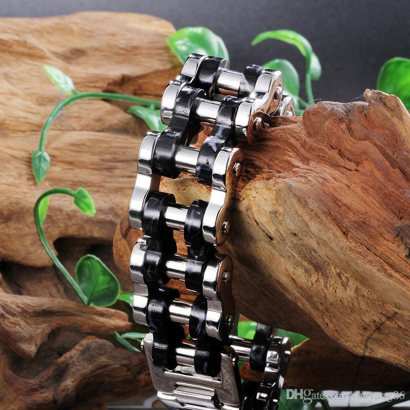 Cadeaux super cool pour hommes de haute qualité large énorme noir motard en acier inoxydable moto chaîne bracelet bijoux 24mm 9.2 ''