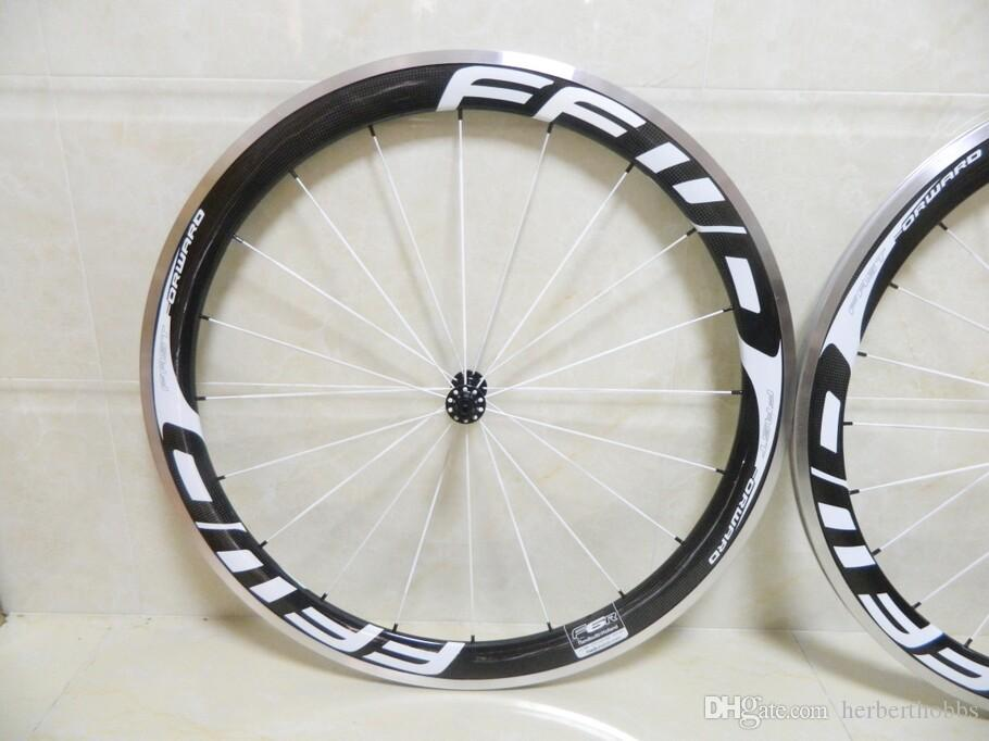 Aluminum White Logo Ffwd F5R 50mm Clincher Bicycle Wheels Carbon Fiber Fast Forward Road And Racing Cycling Wheelset