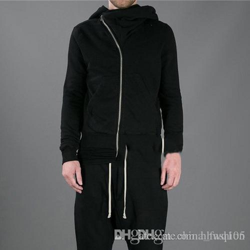 Best Rick Owens Black Hoodies For Men Women Inclined Zipper Hooded ...