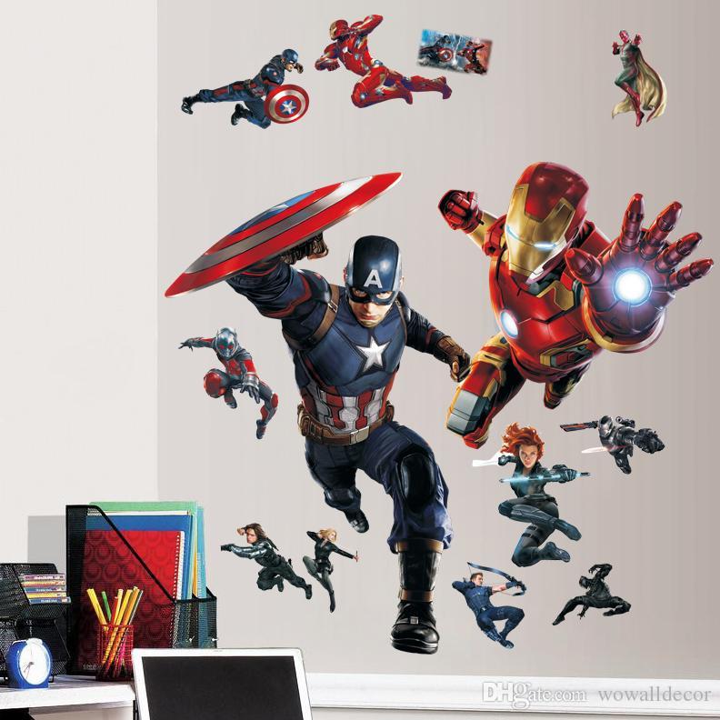 Avengers Wall Stickers Decorative Wall Decal Superheroes Wallpaper Kids  Party Decoration Captain America Ironman Wall Art Civil War Poster Wall  Mural Decals ... Part 45