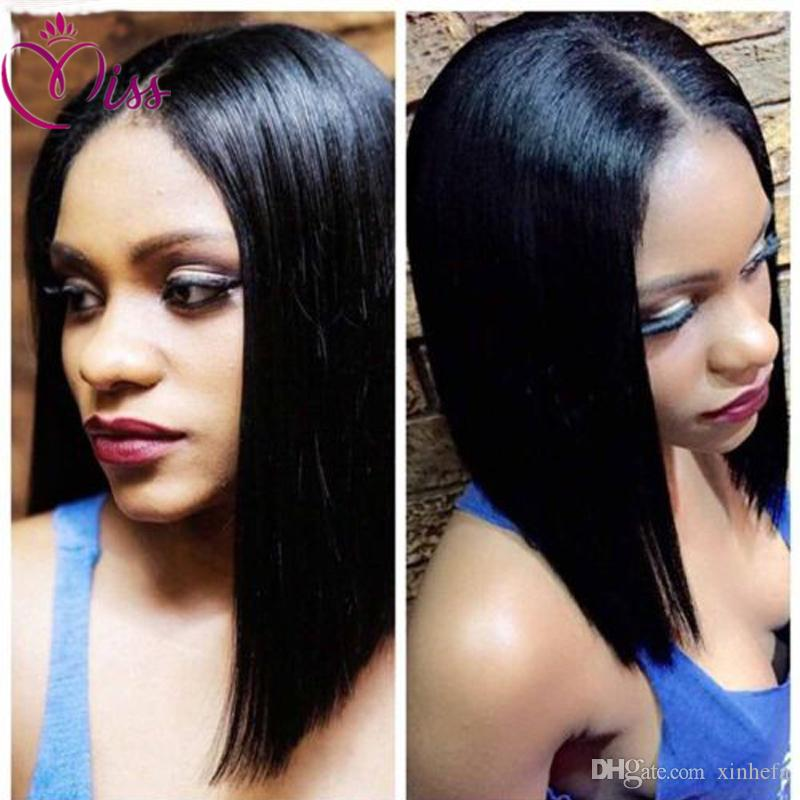 Human Hair middle part Brazilian silky straight hair Full Lace Wigs Glueless Baby Hair natural color Black Hair