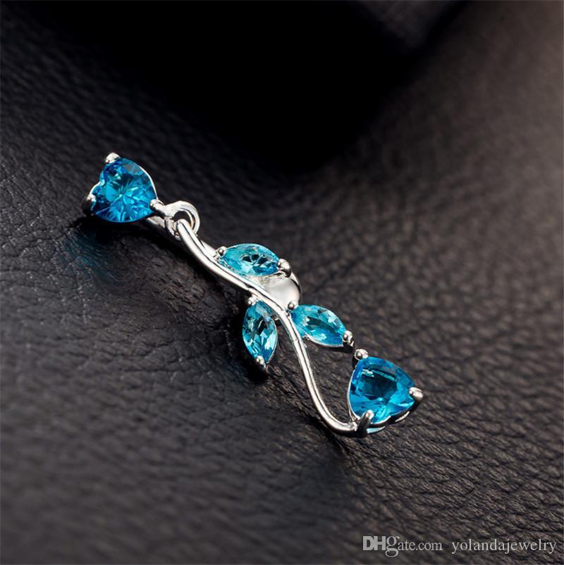 i gioielli sano Foglia CZ della gemma della sfera di cristallo del corpo di alta qualità tasto dell'ombelico della barra della pancia piercing gioielli sexy accessori il trasporto di goccia