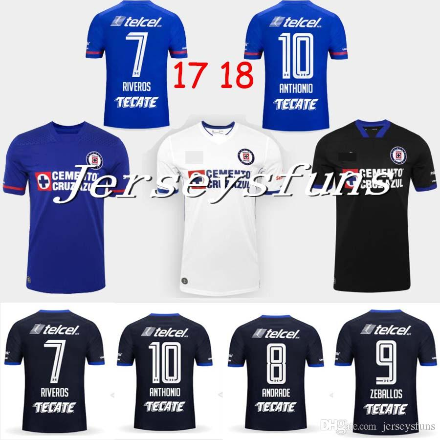 f38de2148 2019 2017 2018 Liga MX Cruz Azul Soccer Jersey Home Blue 17 18 Away White  Black Jersey GIMENEZ CROSAS ROJAS Football Shirt AAAA Quality From  Jerseysfuns