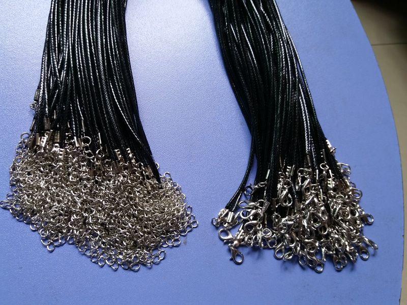 preto 1,5 milímetros PU de couro da jóia colar de corda lagosta fecho Cord Para DIY Craft jóias pingente de colar 20 '' 22 '' 24 '' com 2 ''