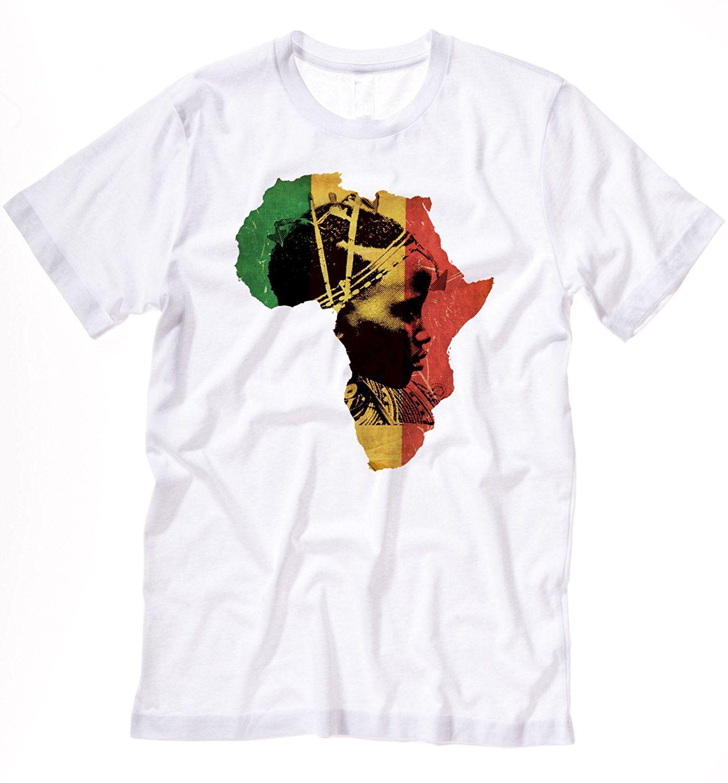 Acheter Afrique T Shirt Africain Carte Coton Tee Histoire Noire Haile  Selassie I Jah Marque De Luxe De Mode Drôle Vêtements Casual À Manches  Courtes T ... 9748c70ea74