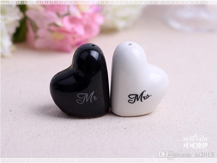 Mr. and Mrs. heart shaped Ceramic Salt Pepper Shakers + Wedding bridal shower Favors gifts