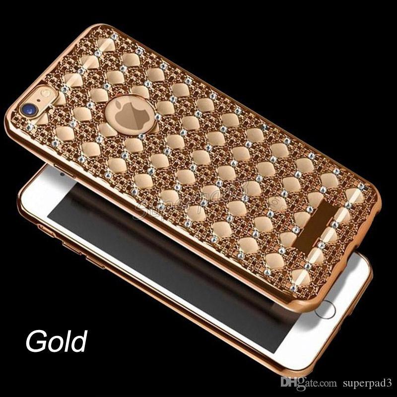 Di alta qualità di lusso placcatura del paraurti tpu cassa del telefono custodia antiurto morbida copertura in oro argento oro rosa iphone free dhl