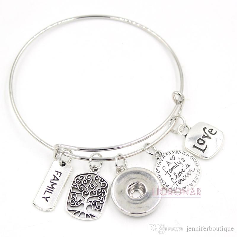 d133dd97d95b4 Wholesale Snap Jewelry Adjustable Expandable Wire Bangle Memorial Family  Tree Charm Bracelets Snap Button Bracelets for Family Gift